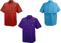 New Item for sale at Critter Creek Ranch Store: Men's Columbia Sportswear Bonehead fishing shirt.  100 percent cotton fabric and buttons up the front. 2 front pockets and fully vented poly-mesh Purple = 2XL Gleem = L  Red = XL