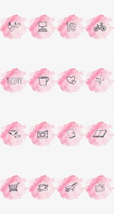 Story Highlight Cover Set of 16 Pink Watercolor Instagram Logo, Free Instagram, Instagram Story Template, Instagram Story Ideas, Instagram White, Pink Highlights, Story Highlights, Organizar Instagram, Hight Light