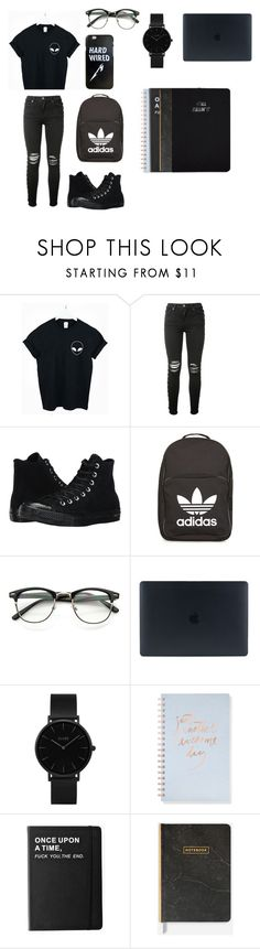 """""""back to school"""" by caitlinkansil on Polyvore featuring WithChic, AMIRI, Converse, adidas, CLUSE, Fringe and Killstar"""