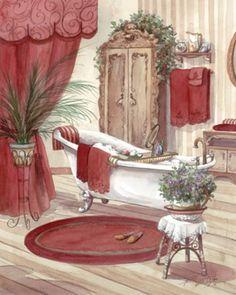 Decorative tiles for bathroom-Victorian Bath II-Tile Mural Decoupage Vintage, Vintage Diy, Decoupage Paper, Bathroom Prints, Bathroom Art, Bathroom Colors, Bathrooms, Bath Art, Bathroom Signs