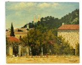 Large French Country Landscape Painting. Original Art Oil Painting of French Castle and Provencal Village Chateaurenard by F Bourelly.