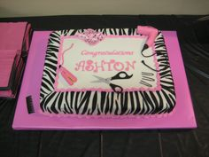 Cosmetology School Graduation - Chocolate Fudge Cake with MMF. All decorations are fondant and gum paste.