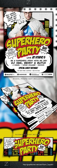 Superhero Party Flyer Template — Photoshop PSD #cover #festival • Available here → https://graphicriver.net/item/superhero-party-flyer-template/16638843?ref=pxcr