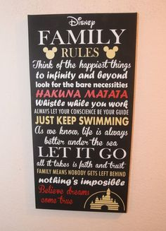 Inspirational Quote Sign, Family Rules Sign, Unique Disney W … – Wall Products Disney Wall Decor, Disney Home Decor, Disney Crafts, Wall Art Quotes, Sign Quotes, Quote Wall, Painting Quotes, Qoutes, Disney Familie