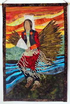 Art quilt depiction of Charles Hankinson (Eagle Tail), a Native American from the Micmac tribe of Canada, dances in full traditional regalia at the Healing Horse Spirit PowWow. Description from pinterest.com.