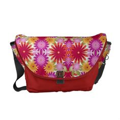 Colorful Flowers Messenger Bag by elenaind