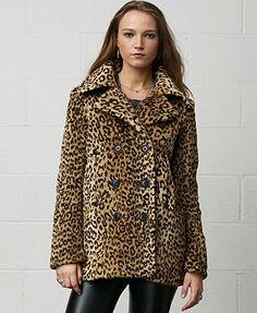 Denim & Supply Ralph Lauren Coats; Animal-Print Pleather-Trim Peacoat