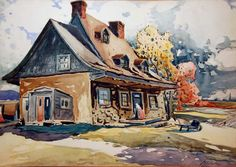 Vieille maison à Longue-Pointe (1928) - Marc-Aurèle Fortin Canadian Painters, Canadian Artists, Landscape Paintings, Watercolor Paintings, National Art, Building Art, Z Arts, Naive Art, Paintings