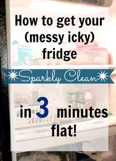 CLEAN FRIDGE ~ The Creek Line House: How to get your (messy, icky) fridge sparkly clean in 3 minutes flat! Household Cleaning Tips, Cleaning Recipes, House Cleaning Tips, Diy Cleaning Products, Cleaning Solutions, Spring Cleaning, Cleaning Hacks, Cleaning Supplies, Cleaning Crew