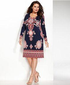 af98f2c23d0ae INC International Concepts Plus Size Long-Sleeve Exotic-Print Shift Dress - Plus  Size