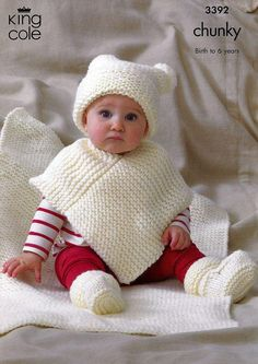 Baby Knitting Patterns Chunky Knitting Pattern Baby Very Easy Knit Hat Poncho Bootees Blanket Chunky Kc 3392 Chunky Knitting Patterns, Baby Hats Knitting, Knitting For Kids, Knit Patterns, Sweater Patterns, Knitted Poncho, Knitted Hats, Children's Poncho, Crochet Baby Poncho