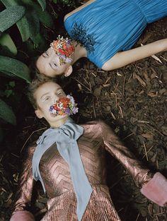 Belles Plantes: Clémentine Deraedt, Shanna Jackway, Eliza Thomas by Michal Pudelka for Numéro #167 October 2015 - Gucci Fall 2015