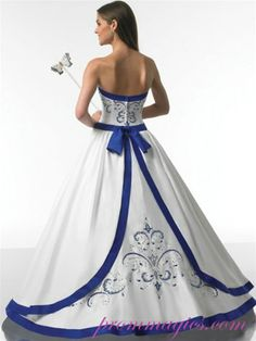 Royal Blue and White Dress | ... line Satin White With Royal Blue Hem Line Dress - Ball Gown / Evening Dress / Prom / Homecoming / Sweet Sixteen Dress