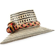 Guanabana Handmade Guajiro Patterned Mawisa Sun Hat (€140) ❤ liked on Polyvore featuring accessories, hats, neutral pattern, print hats, beach hat, brimmed hat, pompom hat and pom pom hat