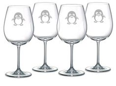 Penguin Choice of Pilsner, Beer Mug, Pub, Wine Glass, Coffee Mug, Rocks, Water Glass Set of 4 Sand Carved ( Etched, sandblasted)