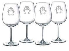 Penguin Choice of Pilsner, Beer Mug, Pub, Wine Glass, Coffee Mug, Rocks, Water Glass Set of 4 Sand Carved ( Etched, sandblasted)