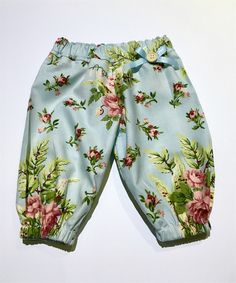 Harem Pants - Blue Floral Size 000 Pre-made ready to ship.