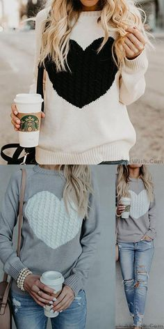 Romantic Love Heart Knit Long Sleeve Cardigan Women Sweater #sweater #love #heart