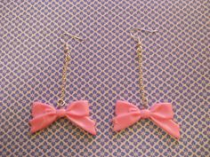 Light Pink Long Bow Dangly Earrings - product images  of