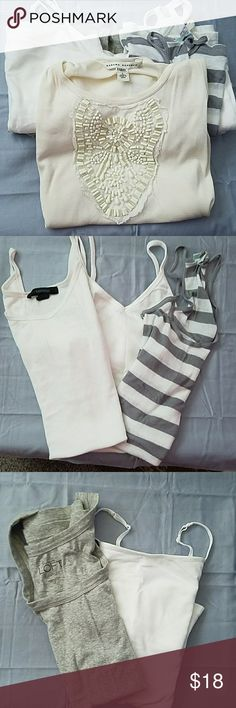Bundle if 6 tank tops 5 tank tops are size small the Banana Republic tank top is size large and has hand done beaded work, 3 tanks are white 1 is gray and 1 is gray and white strip and the Banana Republic one is cream Banana Republic Tops Tank Tops