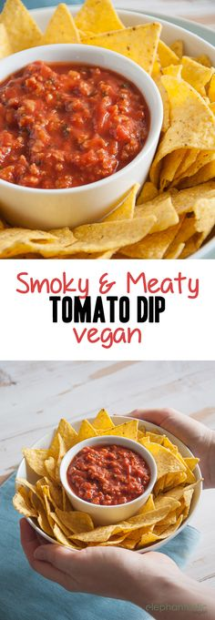With this smoky & meaty Tomato Dip I've confused a couple of omnivores when I told them it's actually vegan. Soy Granule is perfect for the meaty texture. Vegan Sauces, Vegan Foods, Vegan Dishes, Vegan Vegetarian, Vegetarian Recipes, Tvp Recipes, Dairy Free Recipes, Raw Food Recipes, Savoury Recipes