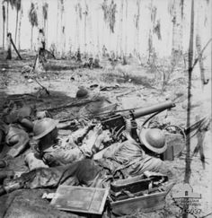 """historywars: """"Australian machine gunners in action on New Year's Day during the final assault on Buna, Papua. Australian Defence Force, Anzac Day, War Photography, Military History, Naval History, Papua New Guinea, Armed Forces, World War Two, Warfare"""