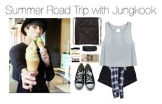 """""""Summer Road Trip with Jungkook"""" by kookiechu ❤ liked on Polyvore featuring Maison Mihara Yasuhiro, Converse, Casetify, Carole and Bling Jewelry"""