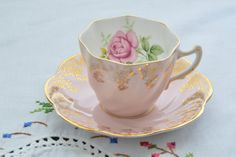 Clare bone china made in England tea cup and saucer/ pink with gold gilt flowers/ scalloped edge/ pink rose by VieuxCharmes on Etsy