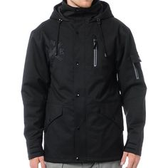 Get fitted in the best of Neff with The Kon men's snowboard jacket in black. This insulated snow jacket has a 10,000mm waterproof rating, 5,000g breathability rating, quilted interior lining, and sick Neff features everywhere. With a zip-out powder skirt, adjustable waist, hood, and cuffs, and an in-line mp3 pocket with headphone port, the Kon guys snow jacket is everything you need to get your boarding game on lock and stick to your favorite Neff styles.Check out all of our Guys Snowboard…