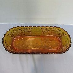 HArd to FInd Tiara Indiana Glass Amber Sandwich Oblong Celery Tray Relish Bowl