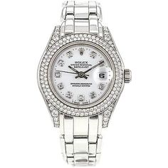 Pre-owned Rolex Pearl Master 69359 18k White Gold Ladies Masterpiece... (813,205 PHP) ❤ liked on Polyvore
