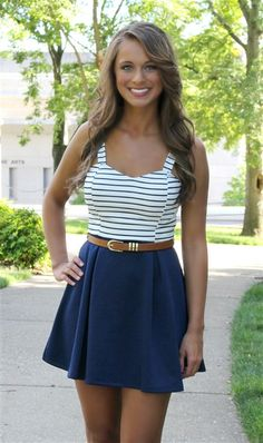 We just LOVE the nautical look to this Yacht Club Dress.