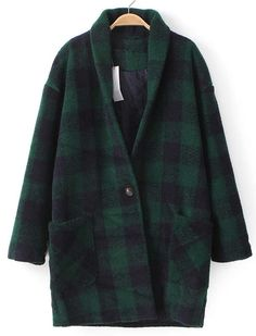 Plaid Oversized Green Outerwear 46.67