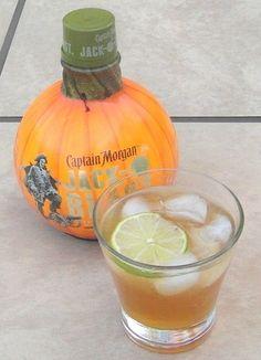 THE CANE MUTINY ~2 oz Captain Morgan Jack-O'Blast ~3/8 oz fresh Lime Juice ~dash Sugar Syrup (to taste) ~1.5 oz Ginger-Ale >Garnish: Lime Slice (Scroll to bottom for recipe)