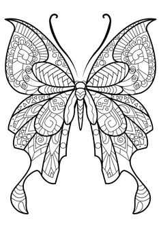 This adult coloring book with beautiful butterfly pictures to color is very easy to use. Multiple color palettes and a personal gallery of your own works, along with calming, relaxing background music, make this anti stress coloring book for adults a. Butterfly Coloring Page, Mandala Coloring Pages, Animal Coloring Pages, Coloring Pages To Print, Free Printable Coloring Pages, Coloring Book Pages, Coloring Sheets, Kids Coloring, Coloring Pages For Adults