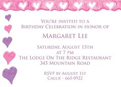 """Pink Hearts Party Invitations. 6-3/4"""" x 4-7/8"""". A portion of the proceeds from the sale of this invitation is donated to help support cancer patient care programs at The Roswell Park Cancer Institute."""