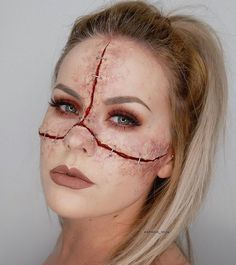 """--- STAPLED FACE --- WOUND: @kryolanofficial CineWax, Death creamcolor circle, FX blood. 