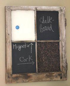 Chalkboard Corkboard Magnet Window  memo by offthewallpainting,