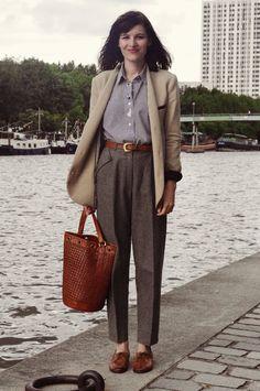 Tweed trousers, oversized blazer + tan brogues