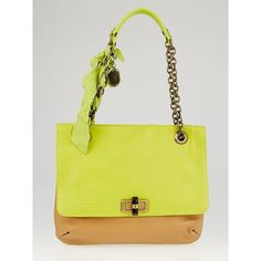 Pre-owned Lanvin Yellow Leather Happy Two-Tone Medium Bag (€565) ❤ liked on Polyvore featuring bags, handbags, shoulder bags, genuine leather shoulder bag, leather shoulder bag, yellow leather shoulder bag, two tone leather handbags and leather handbags