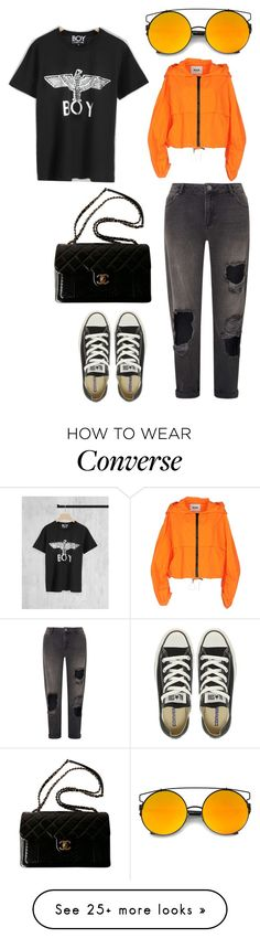 """orange is the new black"" by eboony800 on Polyvore featuring Miss Selfridge, BOY London, Converse, MSGM and Chanel"