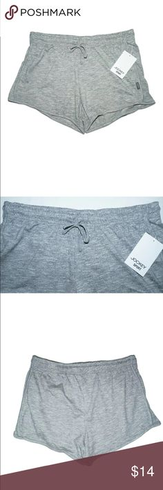"""NEW Jockey Soft Athletic Style Shorts CHILL SHORT NEW Jockey Soft Athletic Style Shorts CHILL SHORT Iron Grey SIZE Small Price on tag is $22  Style is called """"Chill Short"""" Color is called """"Iron Grey"""" Stretch waistband, with a drawstring Size: Small Waist: 28 inches around unstretched Inseam: 3.5 inches 60% Cotton, 40% Polyester  I try my best to capture the correct color/shade but the actual shade may vary.    Thank you so much! Jockey Shorts"""