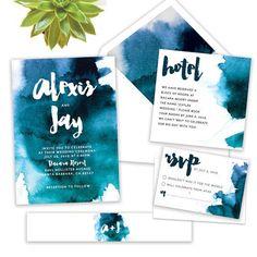 modern unique wedding invitations, watercolor, botanical and bright wedding invites, blue