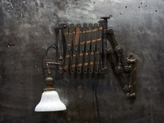 Oculists Japanned Brass Accordion Lamp : Factory 20