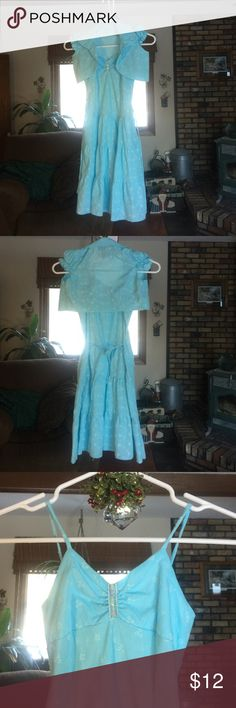 """Pakalolo 2-pc Girls Summer Dress EUC - no rips or stains. Spaghetti strap dress with elastic back and back tie. Jacket has gathered cap sleeves. Dress is 30"""" long, jacket is 10"""" at the longest spot. Light blue eyelet pattern. Smoke free home. Pakalolo Dresses Casual"""