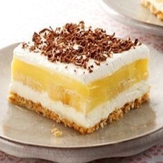 Banana Cream Pie  This version of banana cream pie is very decadent starting with a buttery shortbread crust, a thin layer of cheesecake filling, then a traditional layer of banana cream (pudding and fresh bananas) and finished with whipped topping.