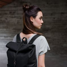 Backpack-Coated- Cotton- Charcoal- Leather- Charcoal- bag- Integrated Laptop Case-Roll-Top-Padded Back-Several Inner and Outer Pockets-3