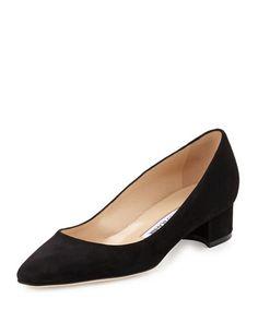 MANOLO BLAHNIK Listony Suede Low-Heel Pump, Burgundy. #manoloblahnik #shoes #