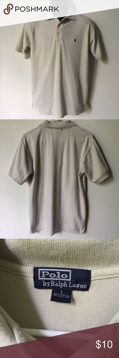 Polo Ralph Lauren Beige Polo T-Shirt Size L Polo Ralph Lauren Beige Polo T-Shirt. Size large but fits like a medium. Polo by Ralph Lauren Shirts Polos