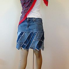 Pocket Garden Blue Jeans Skirt by DenimDiva2day on Etsy